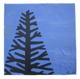 "Blue tree I, 2011, Acrylic on canvas, 9""x9"". Copyright Rebe Banasiak, The Brush Hilt and Banasiak Art Gallery."