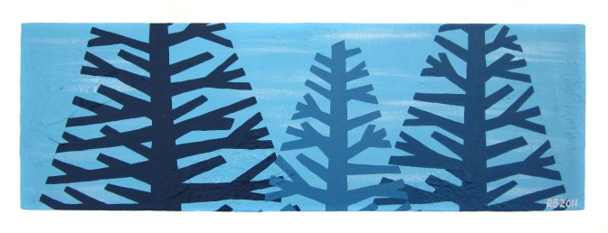 "Aqua tree I, 2011, Acrylic on canvas, 6""x18"". Copyright Rebe Banasiak, The Brush Hilt and Banasiak Art Gallery."