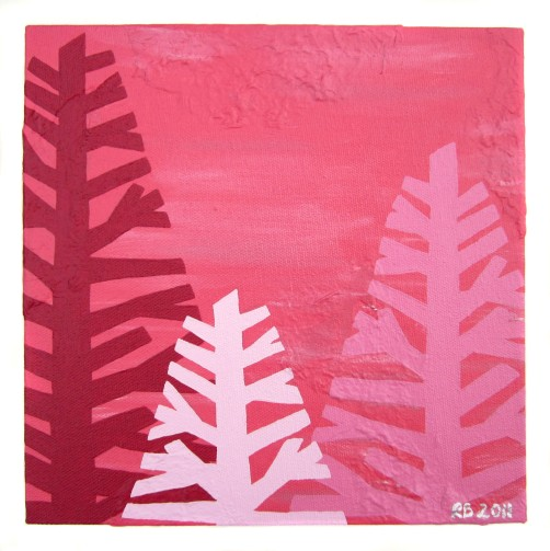 "Coral tree I, 2011, Acrylic on canvas, 9""x9"". Copyright Rebe Banasiak, The Brush Hilt and Banasiak Art Gallery."