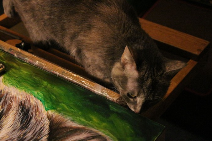 Stephanie the cat, my little studio helper.