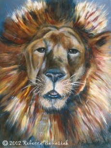"Lion portrait, 2002, acrylic on board, 17x23"". Copyright Rebe Banasiak, The Brush Hilt and Banasiak Art Gallery."