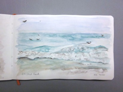Journal page 21, 12th Street beach, 14th September 2013, watercolor in a watercolor journal.. Copyright Rebe Banasiak, The Brush Hilt and Banasiak Art Gallery.
