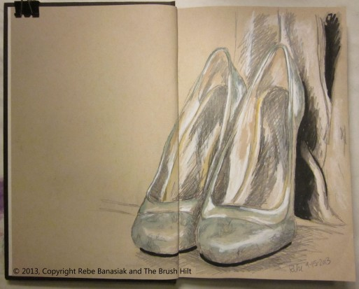 Pretty shoes, Sketchbook 5 page 2, 2013, watercolor and ink.