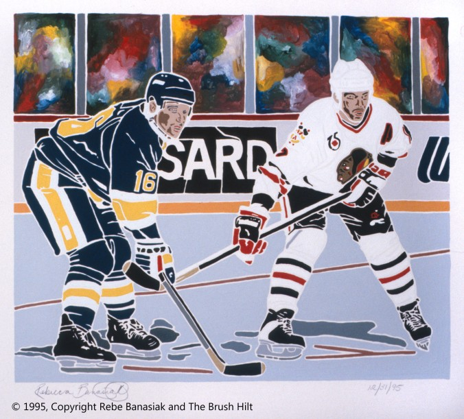 Chris Chelios and Brett Hull, 1995, acrylic on illustration board.