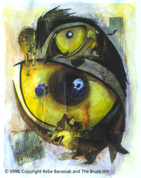 Sight in Yellow and Violet (Wolf series), 1999, mixed media collage.