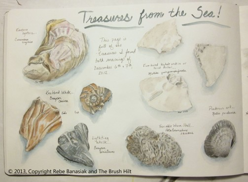 Treasures from the sea, Journal book 1 page 10, 2013, watercolor.