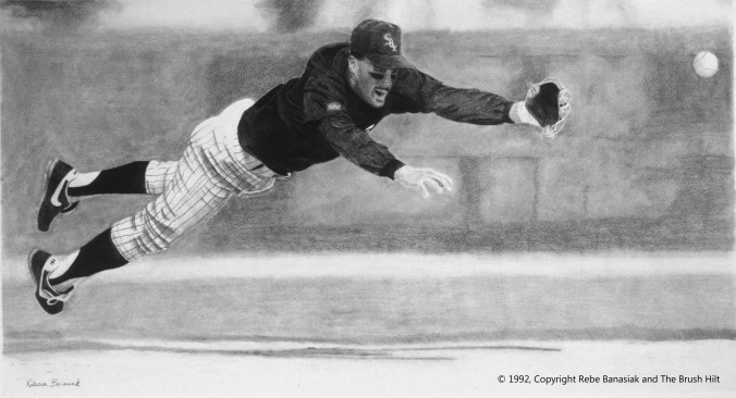 Ozzie Guillen, 1992, graphite on paper.