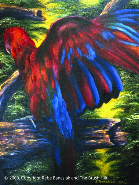 Scarlet Macaw I, 2000, oil on canvas.