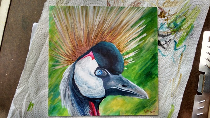 "Finished painting. Crowned crane, 6x6"", inks on aquaboard. Resource from my own photos and from life painting."