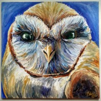 Barn owl, 2015, Acrylic ink on aquaboard, 8″x8″. Copyright Rebe Banasiak, The Brush Hilt and Banasiak Art Gallery.