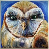 Barn owl, 2015, Acrylic ink on aquaboard, 8″x8″. Copyright Rebe Banasiak, The Brush Hilt and Banasiak Art Gallery.